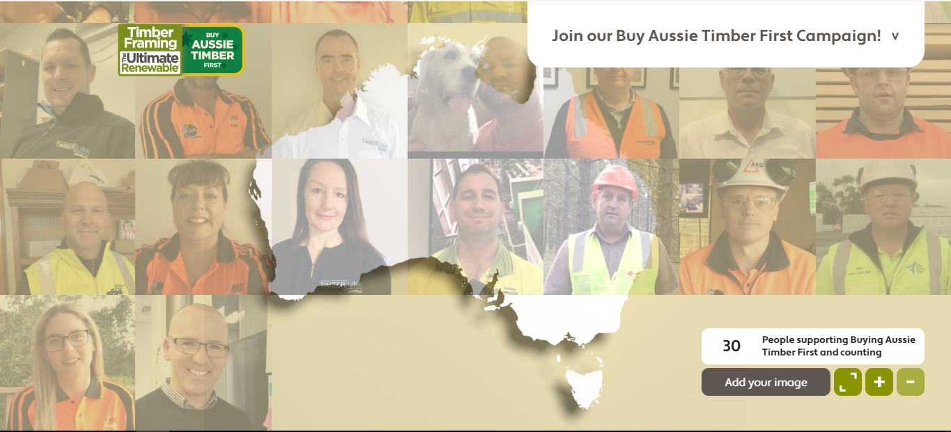 Map of Australia made of Aussie Tiber Workers