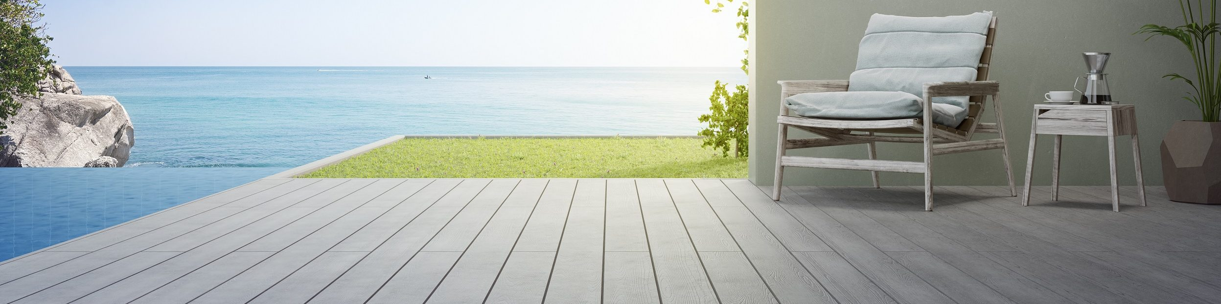 A deck built with wood composite decking products