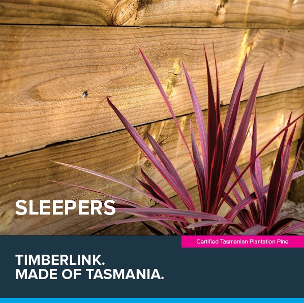 Front cover of Timberlink's sleeper guide. Shows a purple plant in front of a sleeper garden wall