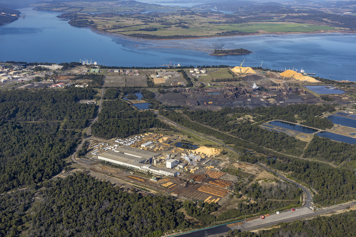 Aerial view of Timberlink Bell Bay Mill
